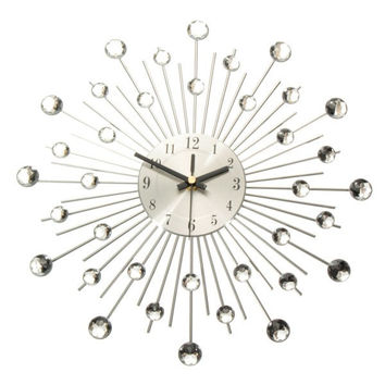 Diamante Crystal Effect Jeweled Sunburst Silver Wire Wall Clock