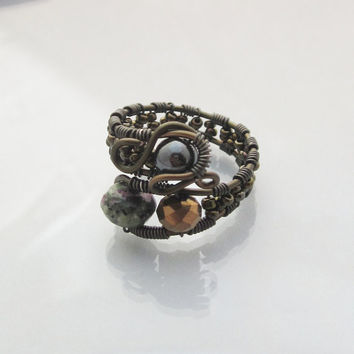 Stone Wire Wrapped Ring, Stone Ring, Cocktail Ring, Gunmetal jewelry
