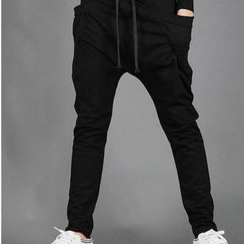 Mens Joggers Casual Slim Fit Skinny Harem Pants Men Drop Crotch Sweat Pants Trousers Sarouel Homme Pantalon with Unique Pockets
