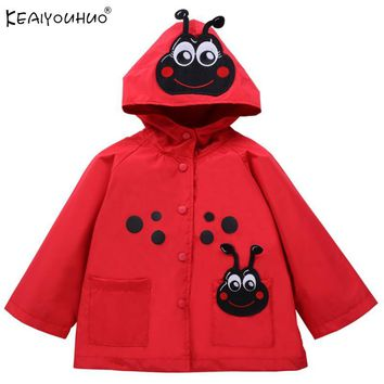 Spring Baby Girls Coats Long Sleeve Waterproof Raincoat Outerwear Children Clothing Boys Cartoon Hoodie Jackets For Kids Clothes