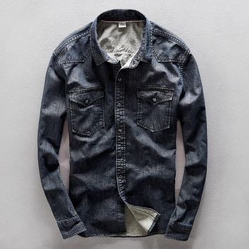 Spring Vintage Style Jeans Shirt Men Black Blue Colors