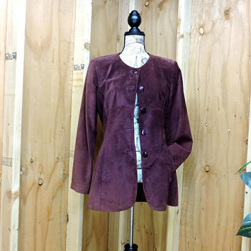 Merlot burgundy leather coat / size M / Vintage 80s Danier Canadian suede jacket