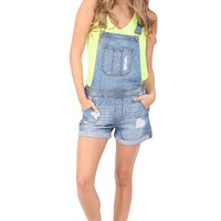 Denim Distressed Overall Shorts at Blush Boutique Miami - ShopBlush.com