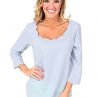 Sky Blue Call Me Maybe Scallop Top | Monday Dress Boutique