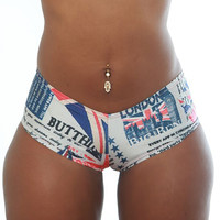 Basic Booty Shorts With UK Print- Stripper Clothing