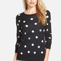 Women's Halogen Sparkle Dot Crewneck Sweater,