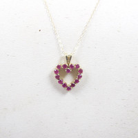 Gold Ruby Heart Pendant. Ruby Open Heart Necklace 14K Yellow Gold. Nabco Signed. Valentine's Day Gift. July Birthstone.