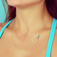 "Layering necklace, turquoise necklace, assymetrical necklace, simple gold necklace, bridesmaid necklace,  circle necklace, ""Sinope"""