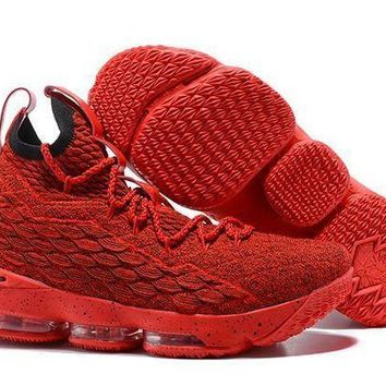 Jacklish All Red Nike Lebron 15 Red October For Sale