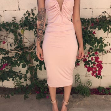Pink Strappy Ruched V Neck Bodycon Midi Dress