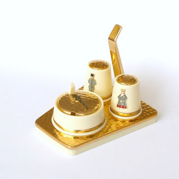 Table Serving Set of  Salt, Pepper Shakers and Mustard Cruet. Vintage  Table Decoration.