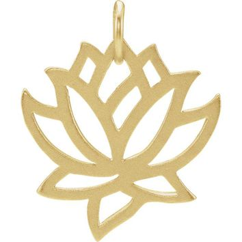 Sterling Silver Plated with 24K Yellow Gold Plating Lotus Charm Pendant
