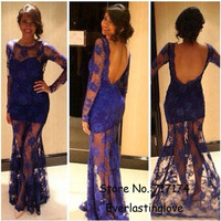 See Through Long Sleeves Royal Blue Sheer Prom Dresses Sheath Sexy Party Dresses homecoming dresses New Fashion
