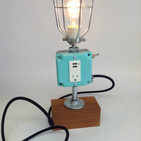 Retro Lamp Mint Industrial Light USB Port Cell Phone Mid Century Modern Mod Dorm Decor iPhone iPod Charger Reclaimed Teak Wood Coffee Shop