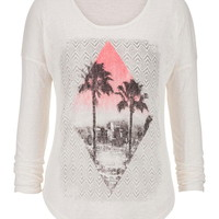 Ethnic And Palm Tree Graphic Print Tee - Beige