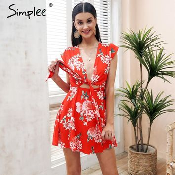 Simplee Sexy v neck floral print mini dress women Sash boho chiffon summer dress 2018 Beach casual wrap short dress robe femme