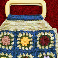Floral Crochet Tote Bag, in Ocean Blue and Bone