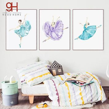 Watercolor Ballet Dance Girl Canvas Art Print Painting Poster,  Wall Pictures for Home Decoration, Wall Art Decor CM035