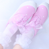 Japanese sweet canvas platform shoes