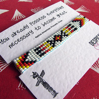 Native American Indian Hand Beaded tribal friendship bracelet on inspirational quote greeting card - Quote Bracelet