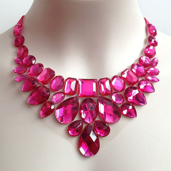 ON SALE hot pink rhinestone bib necklace - prom, wedding, bridesmaids handmade necklace
