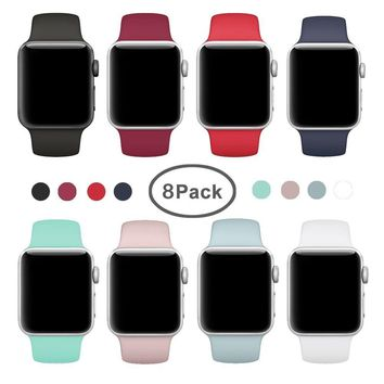 AdMaster for Apple Watch Band 38mm, Soft Silicone Replacement Wristband Classic Sport Strap for iWatch Apple Watch Series1, Series 2, Series 3, Edition, Nike+, S/M Size 8 Pack