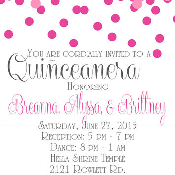 Confetti Quinceanera Birthday Party Invitations