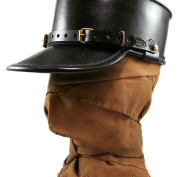 STEAMPUNK LEATHER KEPI hat black leather Skirmisher design