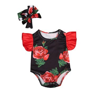 Newborn Cute Floral Cotton Baby Girl Romper Infant Lace Romper Hat Children Clothes Sleeveless Toddler Jumpsuit