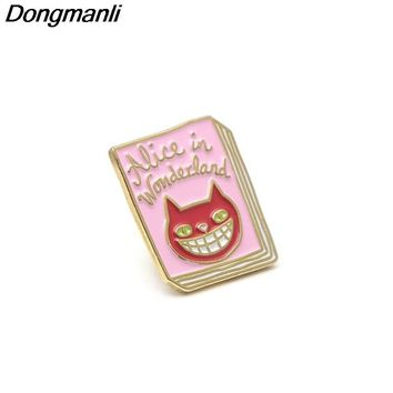 P2866 Dongmanli alice in wonderland Cheshire cat Metal Enamel Pins and Brooches for Women Men Lapel pin backpack badge gifts