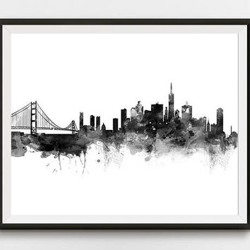 San Francisco Skyline Print Cityscape Watercolor California Poster Black and White Travel Home Decor Wall Art Gift Digital Download