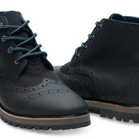 BLACK FULL GRAIN LEATHER/QUILTED MESH MEN'S BROGUE BOOTS