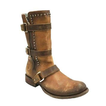 ICIKAB3 Corral Cognac Mutli-Straps & Studs Boots