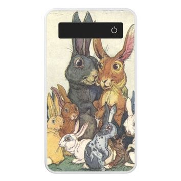 Vintage Easter bunny family Power Bank