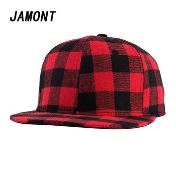 Trendy Winter Jacket Red Black Plaid Baseball Cap For Women Men Couple Snapback Hip Pop Caps Simple England Style Bone Hats AT_92_12