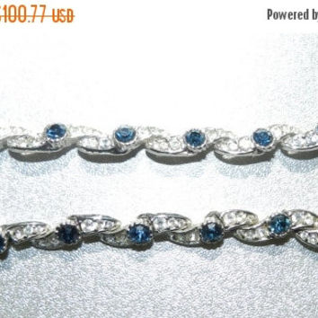 CLOSEOUT---) Sapphire Rhinestone Art Deco Link Bracelet Vintage 1920s Fine Designer Antique Art Deco Jewelry Jewellery High End
