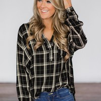 Black Plaid Button Up Top