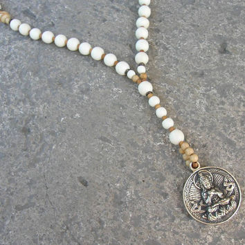 Enlightenment, White wood, African trade beads and Buddha pendant