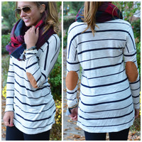SZ MEDIUM High Standards Navy Striped Elbow Patch Top