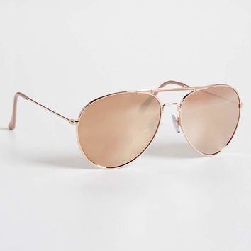 mirrored aviator sunglasses in rose-goldtone | maurices