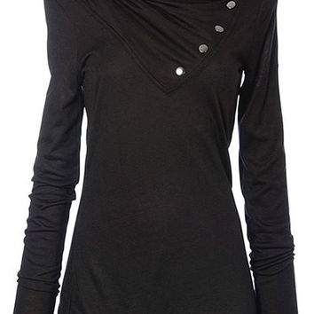 Black Cowl Neck Long Sleeve Sweatshirt