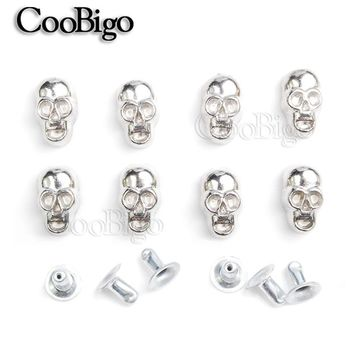 50pcs 11x6.5mm Skull Rivet Studs Spikes DIY Leather Craft for Apparel Clothing Shoe Bag Parts Accessories