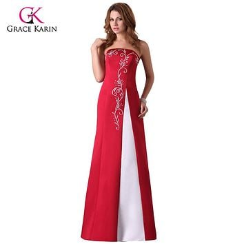 Cheap Long Red Evening Dresses Grace Karin Satin abendkleider 2017 Party Formal Dresses Burgundy Gowns Robe de soiree