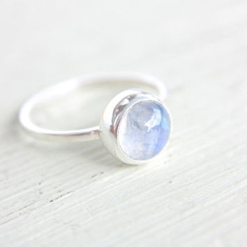 Moonstone Ring Sterling Silver Stacking Ring Stacker Silversmithed Metalsmithed