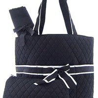 3 Piece Solid Color Quilted Diaper Bag Set w/ Changing Pad & Cosmetic Purse (Black)