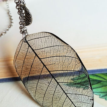 Black Real Leaf in Resin Pendant Necklace Natural Specimen, Boho Layering Skeleton Leaf Natural Botanical Specimen