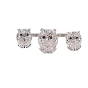MagicPieces Rhodium Plated Alloy Silver Triple Owls Double Ring for Women