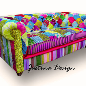 Patchwork Chesterfield Sofa hand made in England