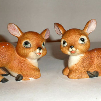 Vintage Deer Figurines - Fawn Figurines - HOMCO Fawns - Baby Deer - Home Decor - Pair of Fawns - Small Fawn Figurines - Small Deer Statues