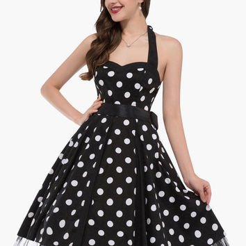Polka Dot Sweetheart Neckline Halter Pleated Dress
